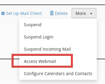 cPanel Email Menu