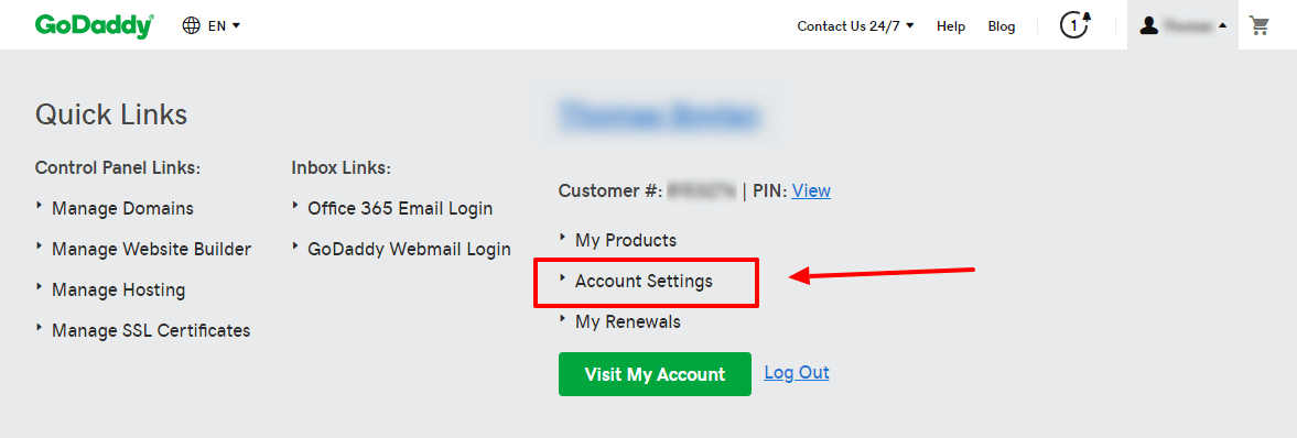 GoDaddy Account Settings