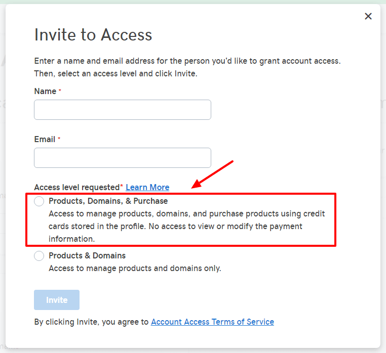 Grant access to your GoDaddy account