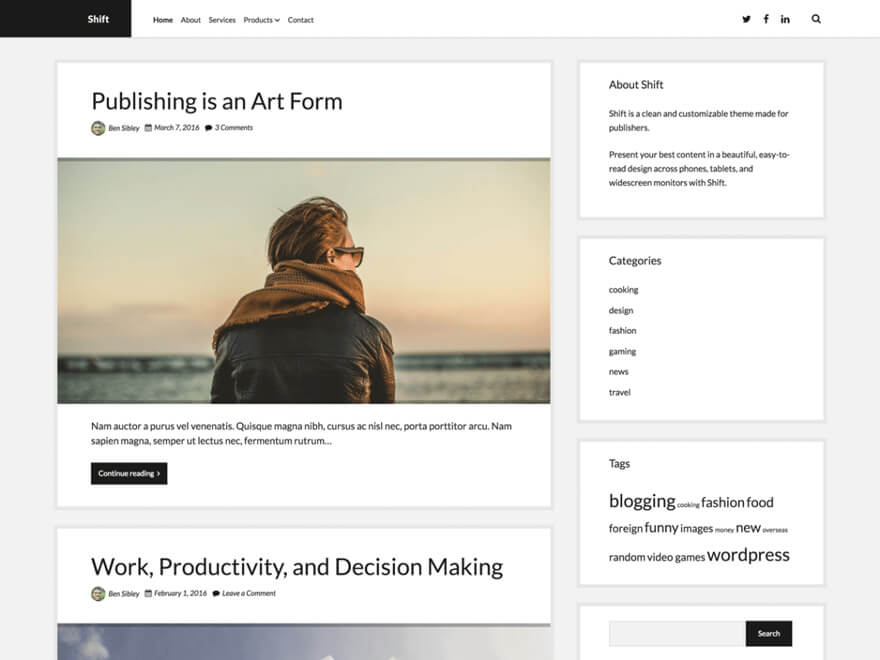 Shift ADA WordPress Theme
