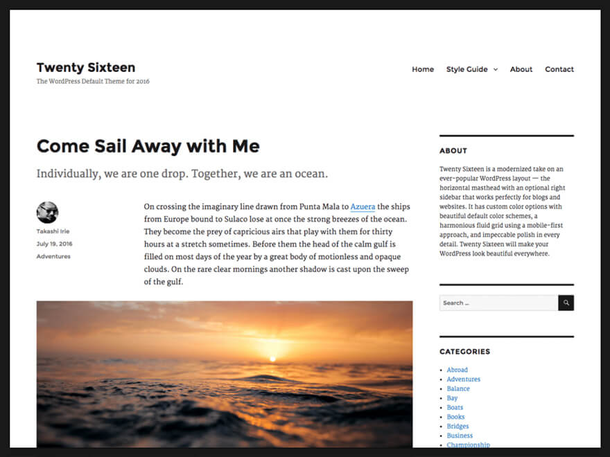 Twenty Sixteen ADA WordPress Theme