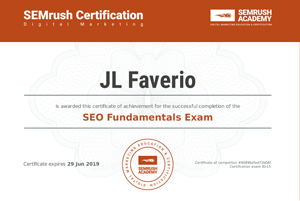 SEO Fundamentals Exam completion, presented to JL Faverio. Links to PDF of certificate.