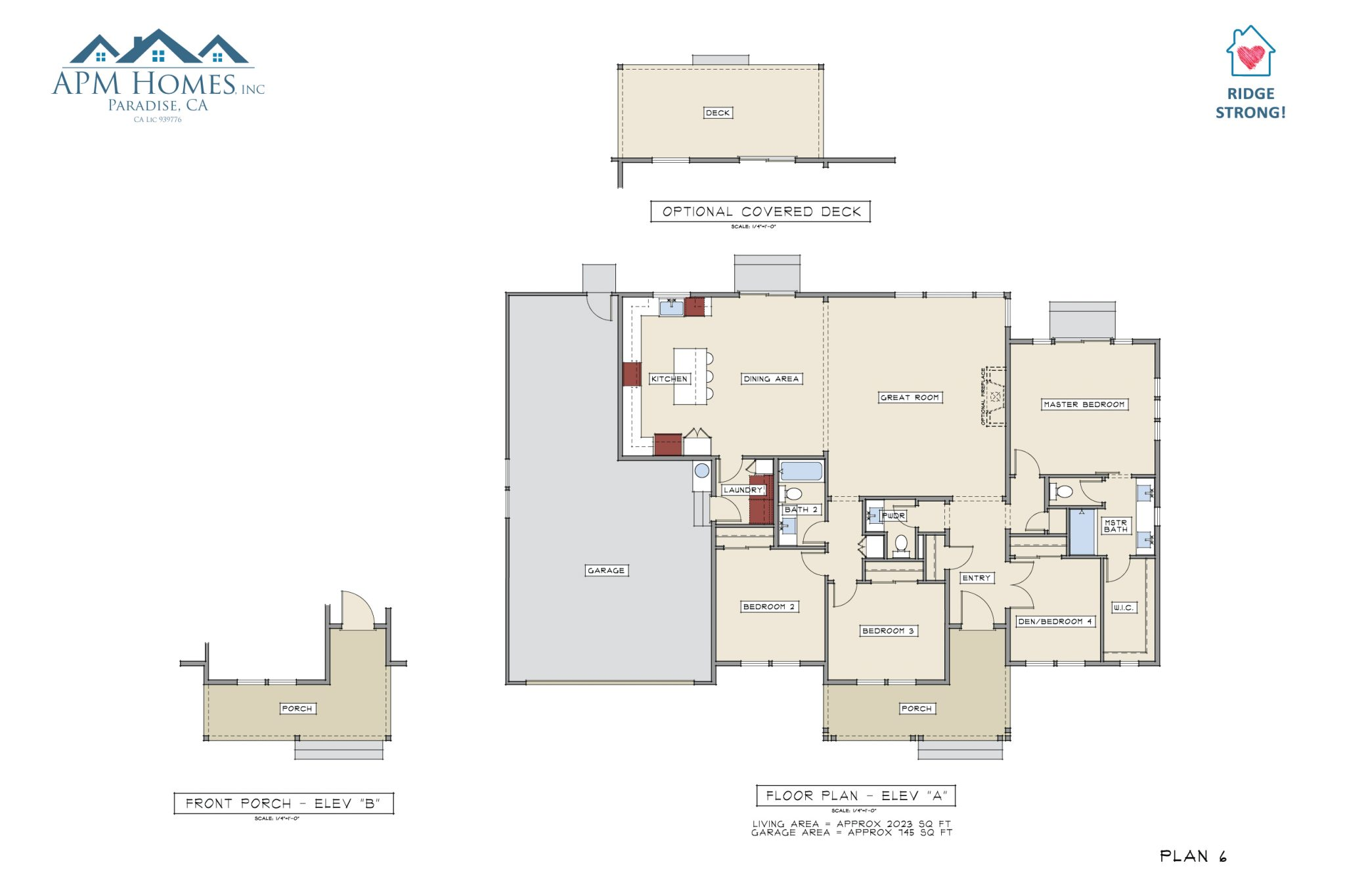 APM Homes , Inc - Example of coloring done to make home floor plans more visually appealing