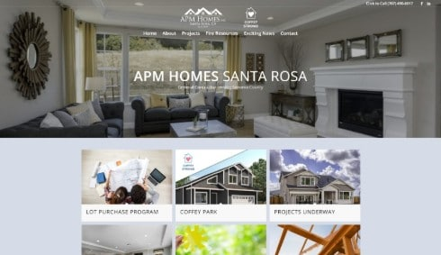 Link to APM Homes Santa Rosa web design example