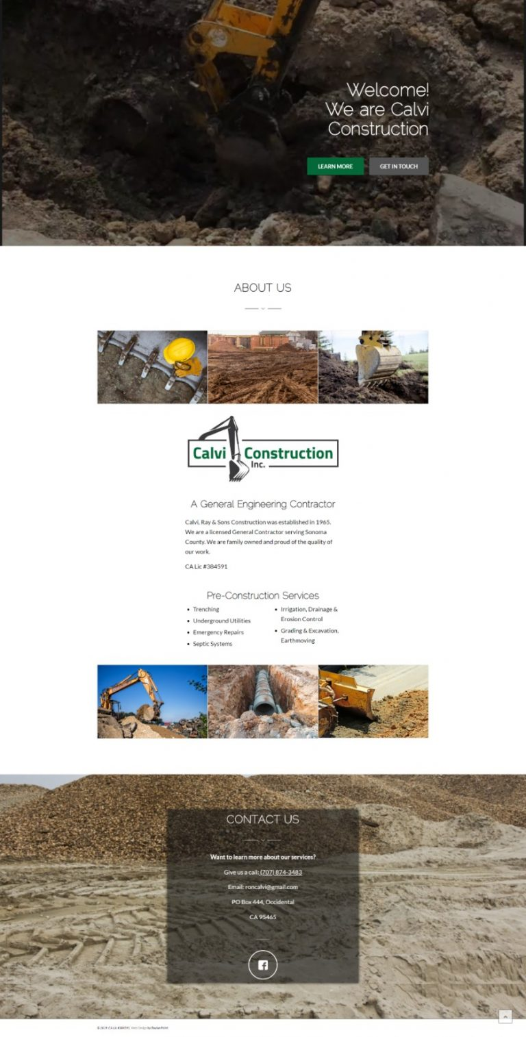 "Link to Calvi Construction, Inc. ""Holding Page"" Website"