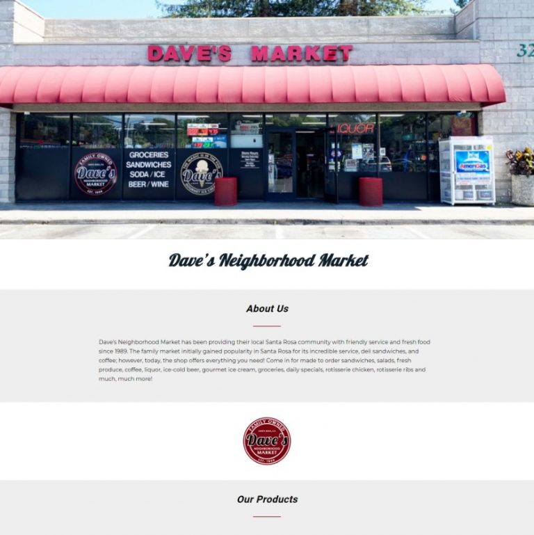 "Link to Dave's Neighborhood Market ""Holding Page"" website"