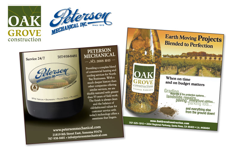 Oak Grove Construction ad displaying vineyards, and next to it a custom ad for Peterson Mechanical featuring popular services they provide