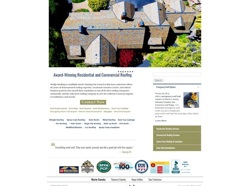 Link to Wedge Roofing Website