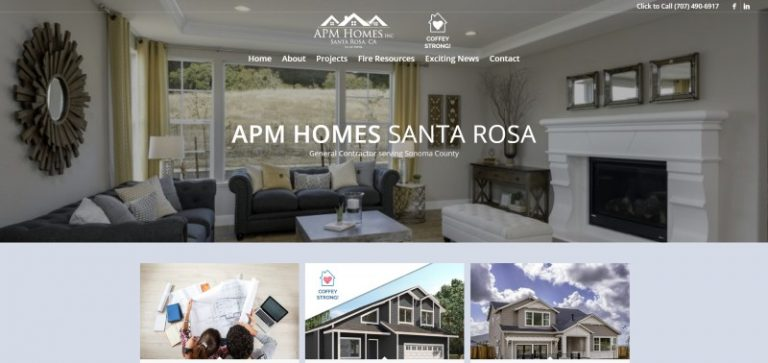 Link to APM Homes construction Web Design