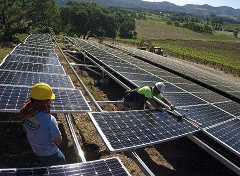 Westcoast Solar Energy employees installing solar panels